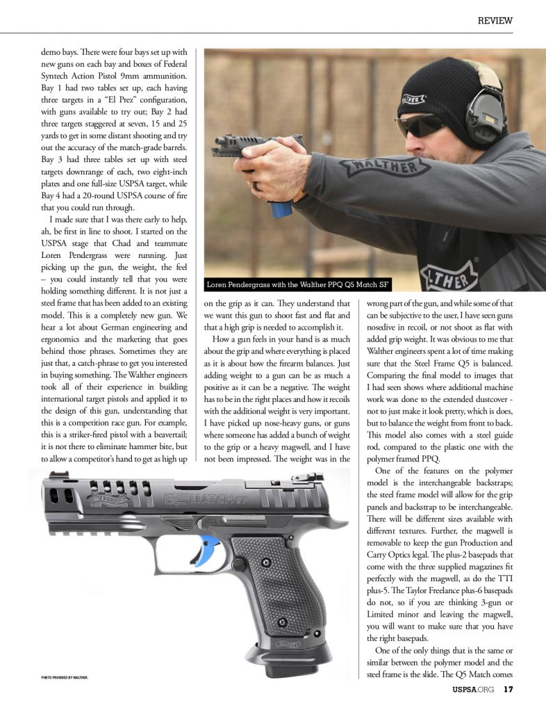 Team Walther Shooter Loren Pendergrass with Walther Q5 Match SF.